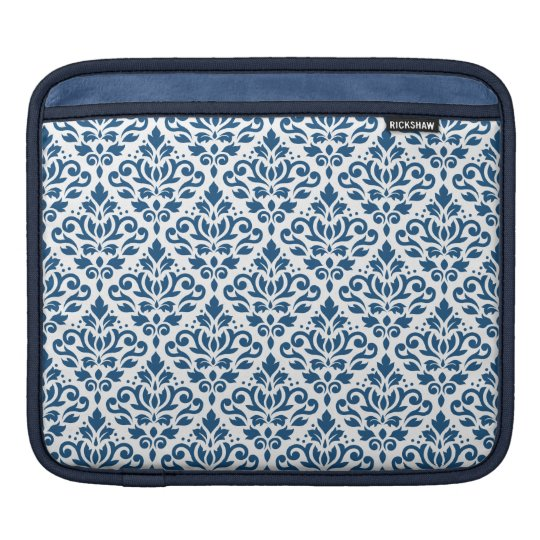 Scroll Damask Rpt Ptn Dk Blue on White iPad Sleeve