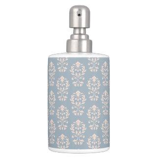 Scroll Damask Rpt Ptn Pink on Blue Soap Dispenser And Toothbrush Holder