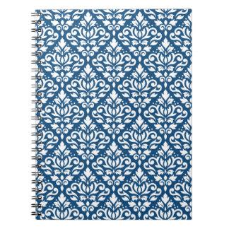 Scroll Damask Rpt Ptn White on Dk Blue Notebook