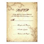 Scroll leaf beige brown vintage wedding RSVP card 11 Cm X 14 Cm Invitation Card