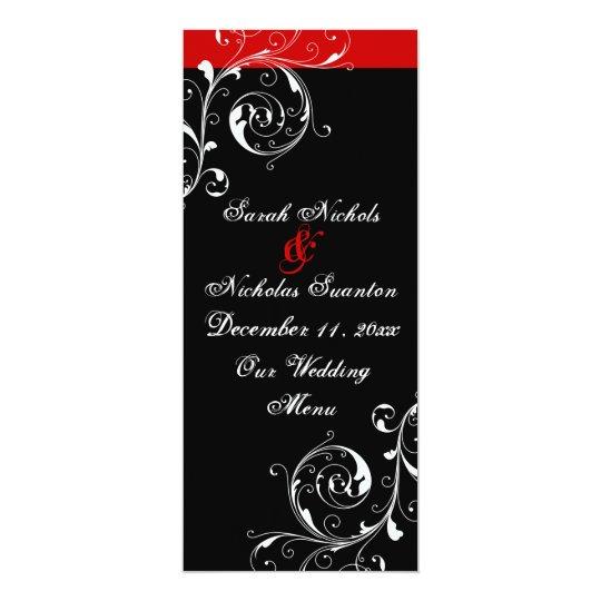 Scroll leaf black, red wedding menu card