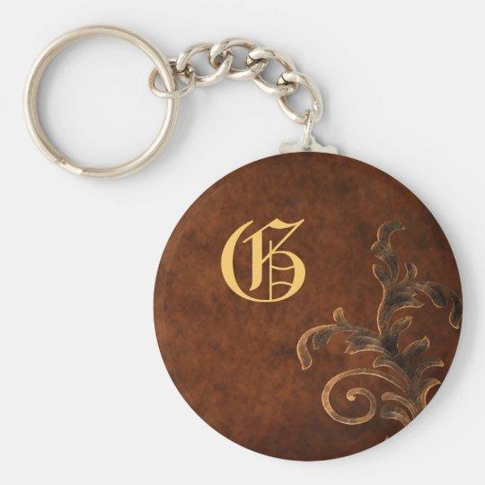 Scroll Leaf Vintage Monogram Keychain