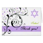 Scroll leaf white purple & Star of David Thank You Note Card