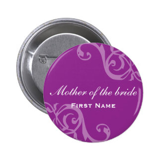 Scroll purple wedding name tag badge pin button