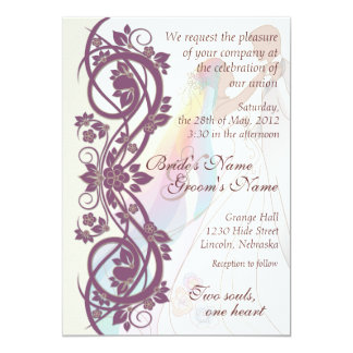 Scroll Rainbow Bride & Groom Wedding Invite-2B 13 Cm X 18 Cm Invitation Card