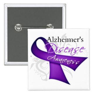 Scroll Ribbon - Alzheimer's Disease Awareness 15 Cm Square Badge