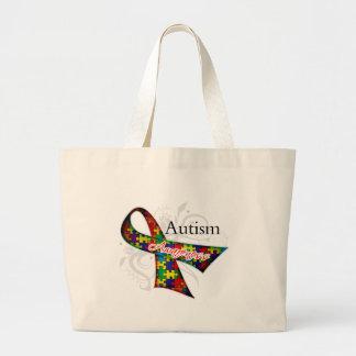Scroll Ribbon - Autism Awareness Jumbo Tote Bag