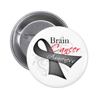 Scroll Ribbon Brain Cancer Awareness 6 Cm Round Badge