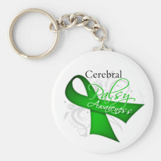 Scroll Ribbon - Cerebral Palsy Awareness Keychain