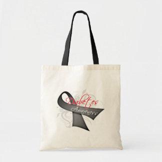 Scroll Ribbon - Diabetes Awareness Canvas Bags
