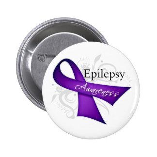 Scroll Ribbon - Epilepsy Awareness 6 Cm Round Badge