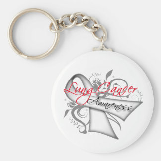 Scroll Ribbon Lung Cancer Awareness Keychain