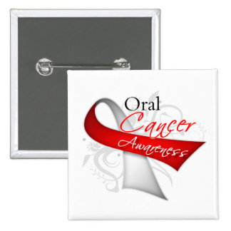 Scroll Ribbon Oral Cancer Awareness 15 Cm Square Badge