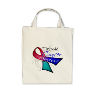 Scroll Ribbon Thyroid Cancer Awareness Canvas Bags
