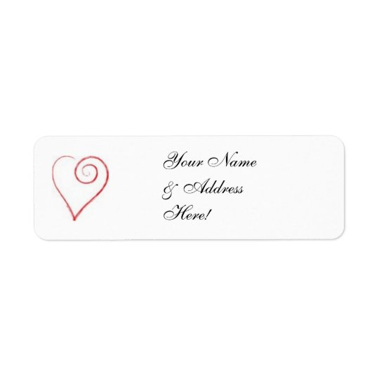 Scrolled Heart Mailing Label