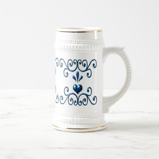 Scrolled Hearts stein rich blue Beer Steins