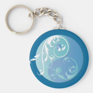 Scrolling Yin & Yang (Earth blues) Basic Round Button Key Ring