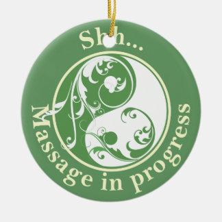 Scrolling Yin Yang Massage Do Not Disturb Christmas Ornament