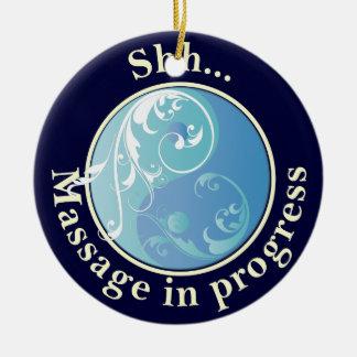 Scrolling Yin Yang Massage Do Not Disturb Round Ceramic Decoration