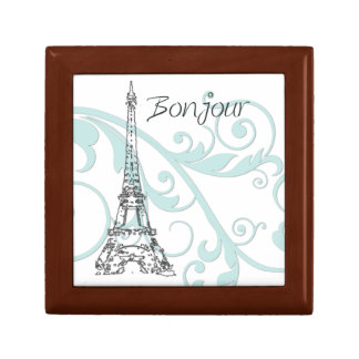 Scrolls and Eiffel Tower - Blue Small Square Gift Box