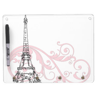 Scrolls and Eiffel Tower - Pink Dry Erase Board With Key Ring Holder