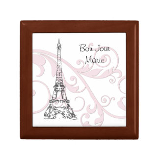 Scrolls and Eiffel Tower - Pink Small Square Gift Box