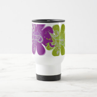 Scrolls n Flowers (purple/lime) Stainless Steel Travel Mug