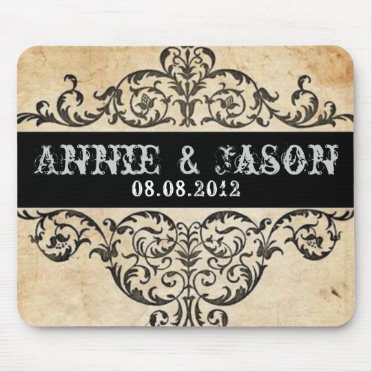 Scrolls rustic country western saloon wedding mouse mat