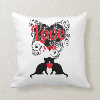 Scrollwork Hearts With Kitties...Love You Pillow