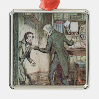 Scrooge and Bob Cratchit Silver-Colored Square Decoration