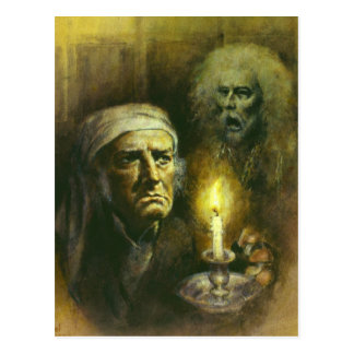 Scrooge And Ghost Postcard