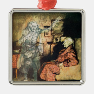 Scrooge and The Ghost of Marley Silver-Colored Square Decoration