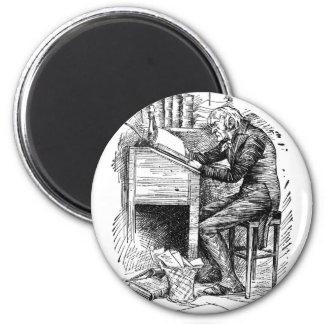 Scrooge at His Desk 6 Cm Round Magnet