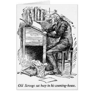 Scrooge at His Desk (with text) Greeting Card