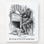 Scrooge at His Desk (with text) Mouse Pad