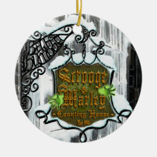 Scrooge&MarleySignScene Christmas Ornament