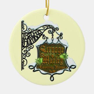 Scrooge&MarleySignScene Christmas Ornament