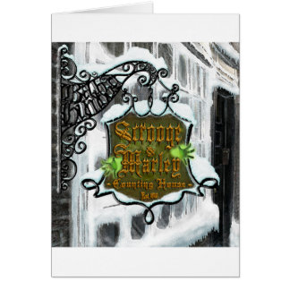 Scrooge&MarleySignScene Greeting Card