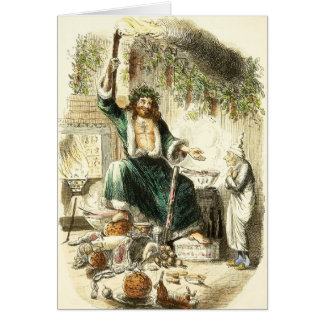 Scrooge & Spirit of Christmas Present - Greeting C Greeting Card