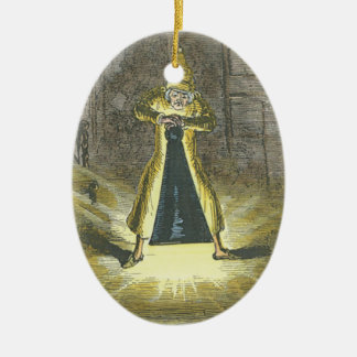 Scrooge trying to stop the Ghost of Christmas Past Double-Sided Oval Ceramic Christmas Ornament