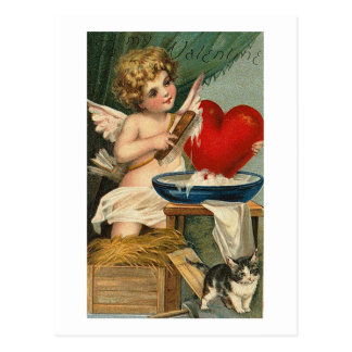 Scrubbing Heart Cupid and Cat Postcard