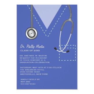 Scrubs Blue Medical Graduation Invitation