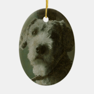 Scruffy Dog Antique Photo Christmas Ornament