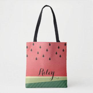 Scrumptious Watermelon   Custom Name Tote Bag