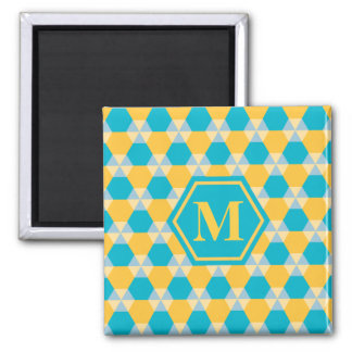 Scuba Blue and Yellow Triangle-Hex Magnet