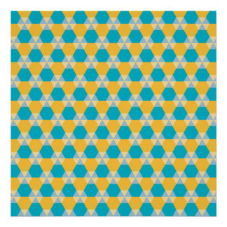 Scuba Blue and Yellow Triangle-Hex Poster