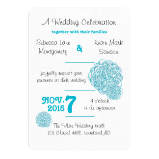 Scuba Blue Hydrangea Wedding Invitations