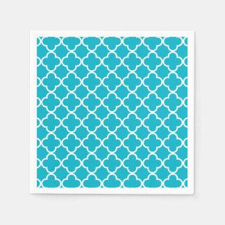 Scuba Blue White Quatrefoil Moroccan Pattern Disposable Serviette