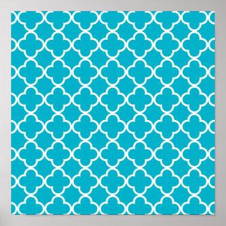 Scuba Blue White Quatrefoil Moroccan Pattern Poster