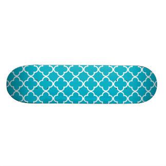 Scuba Blue White Quatrefoil Moroccan Pattern Skate Decks